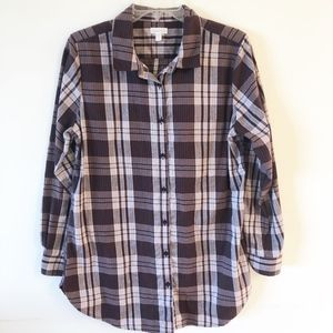 Garnet Hill Long Tunic Cotton Flannel Shirt